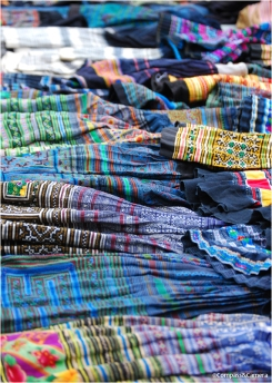 Hill tribe embroidery at the market