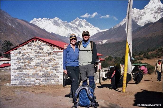 Mount Everest looms beyond us at Tengboche