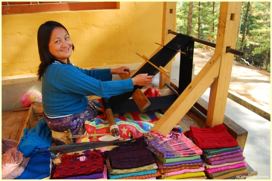 Weaving scarves at the Takin Preserve