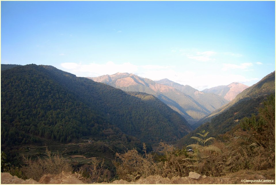 View from the road back to Punakha