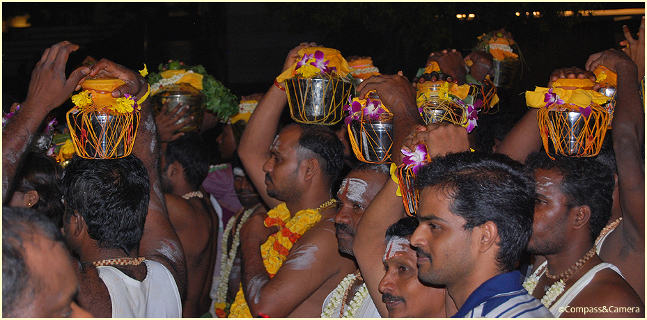 Early morning Thaipusam procession