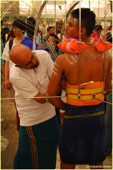 Preparing a Vel Kavadi at Sri Srinivasa Temple