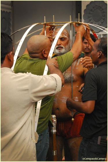 Assembling the Vel Kavadi
