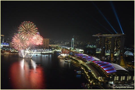Fireworks and Marina Bay Sands