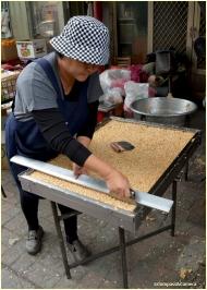 Slicing the peanut bars