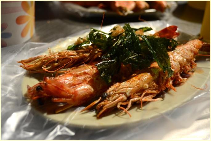 Shrimp with fried basil -- so good!