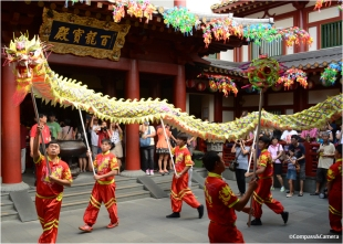 Dragon dance at the Buddha Tooth Temple