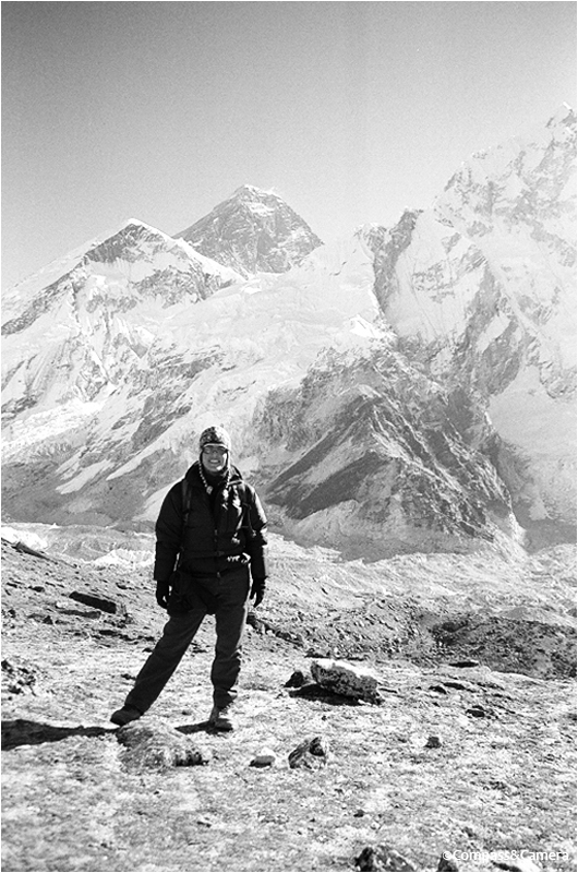 The thrill of victory, at the base of Mount Everest