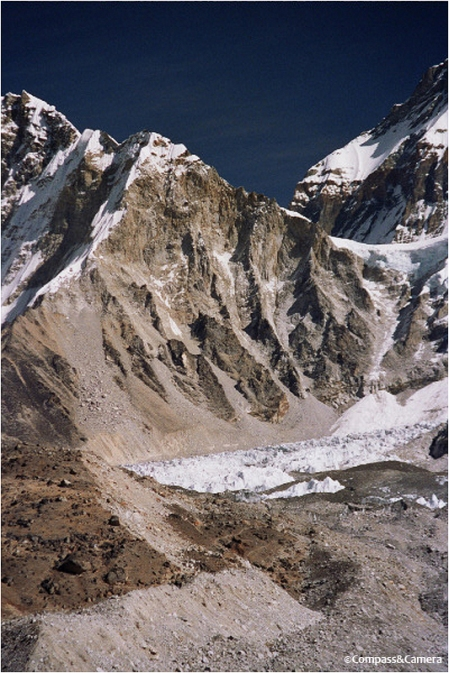 Everest Base Camp somewhere at the foot of the Khumbu icefall