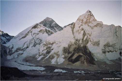 Mount Everest and Nuptse before sunrise