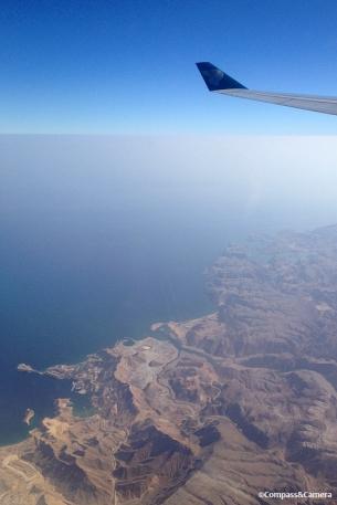 Aerial view of the same coastline upon departing Oman