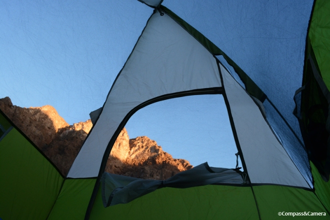 First light from the tent