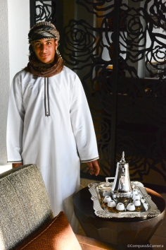Nasir serves Omani coffeee