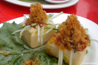 Pork floss on tofu