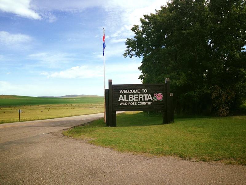 Entering Alberta, Canada