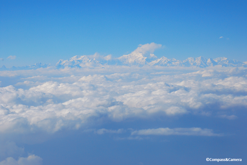 View to the Himalayas above Bhutan