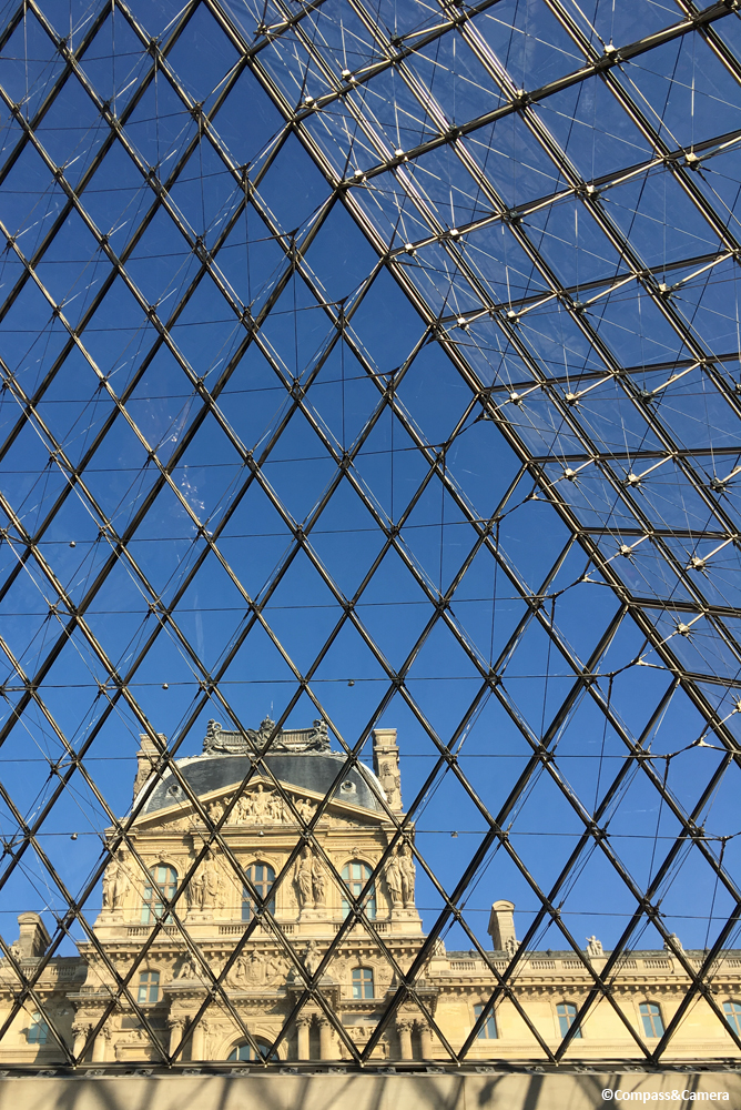 Looking up at the Louvre