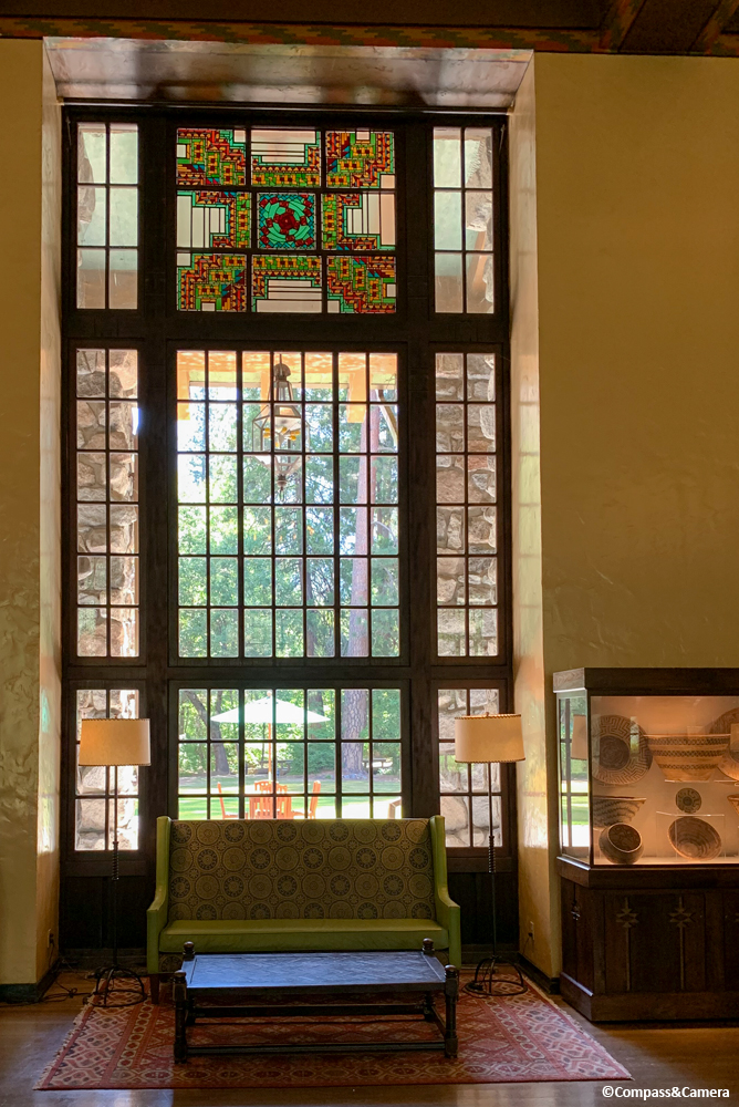 Stained glass detail in the Great Lounge