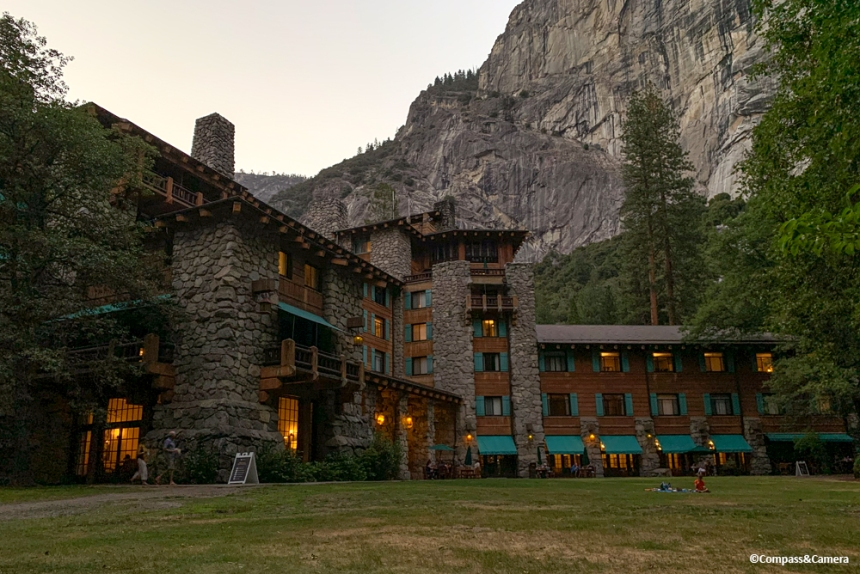 The Ahwahnee Hotel during a sunset picnic