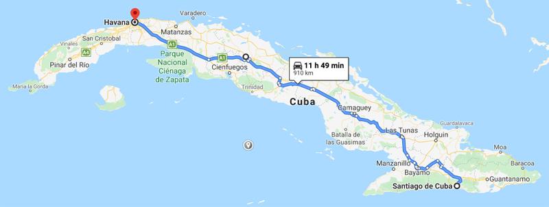 Havana to Santiago de Cuba