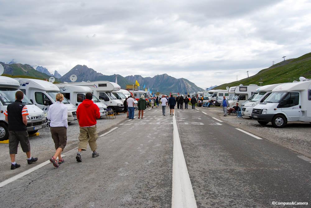 A small view of the armada of RVs and satellite dishes following the Tour de France