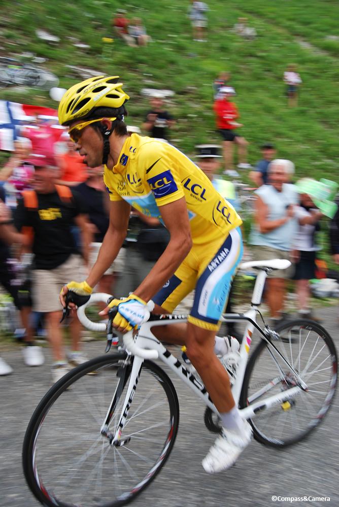 Alberto Contador leads the professional riders