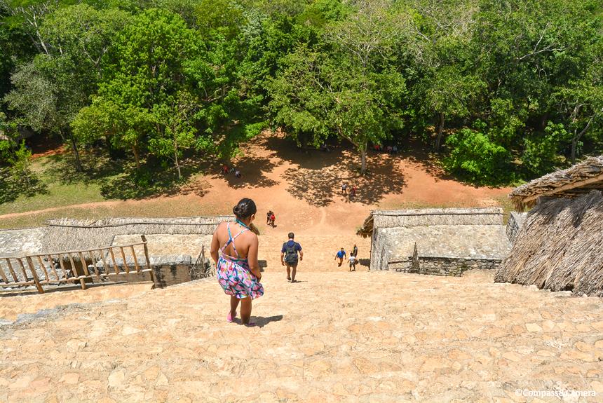 The descent at Ek Balam
