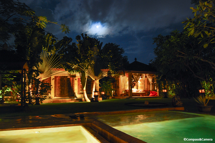 Full moon rising above Villa Dermawan