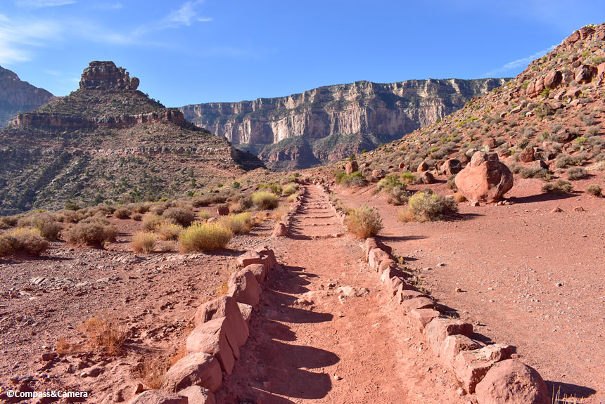 Looking back at the trail and canyon wall