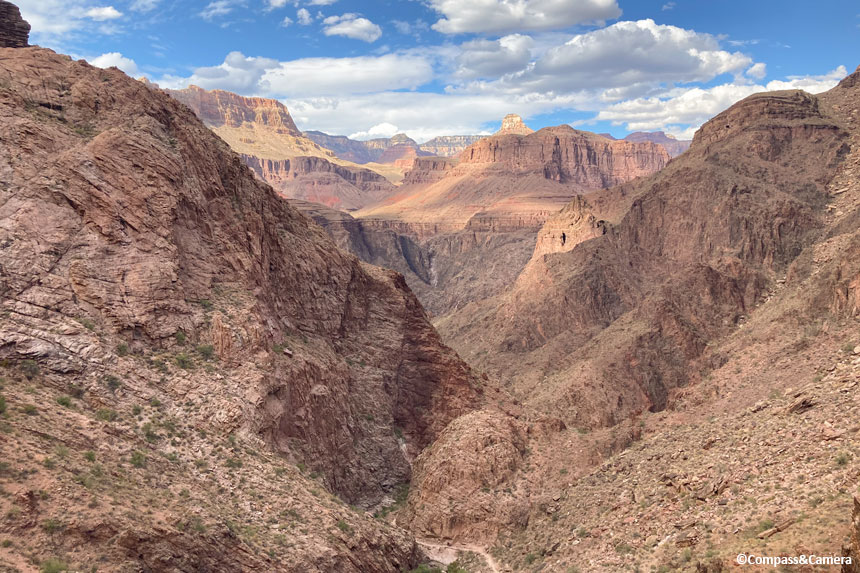 Gaining elevation and views across the canyon
