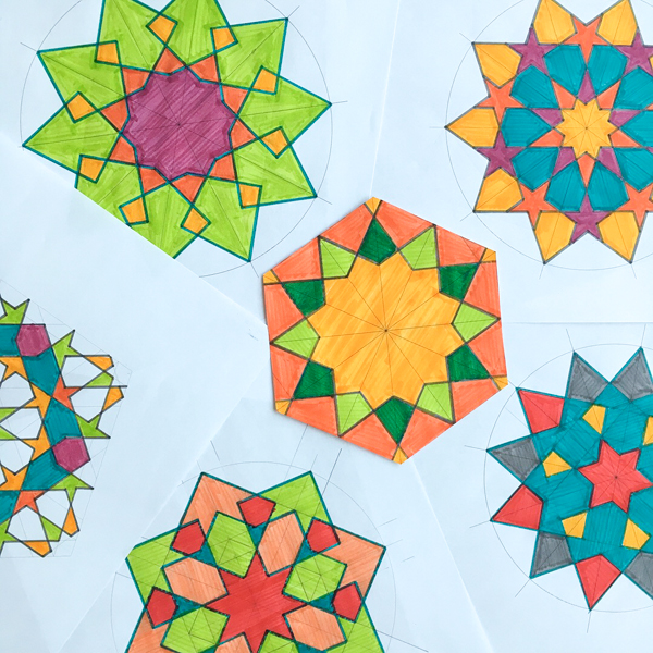 Islamic geometric designs I drew in class