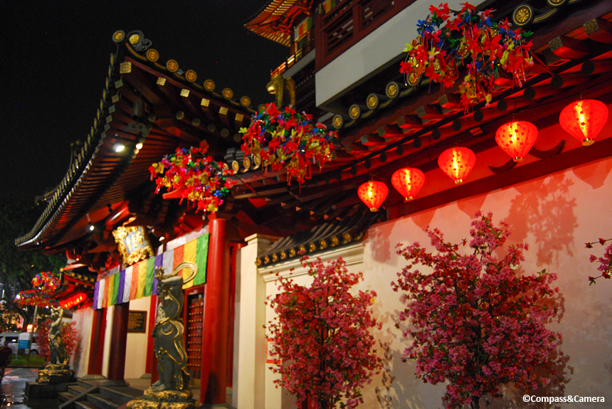 The Buddha Tooth Relic Temple dressed up for the New Year
