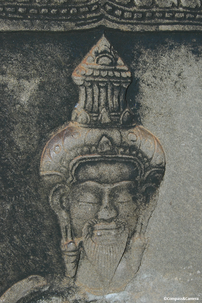 Cambodian portrait in stone bas-relief